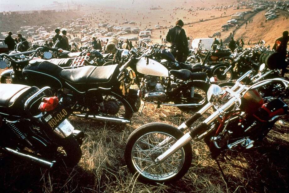 Motorcycles crowd the field during the concert at Altamont Speedway. Photo: Associated Press