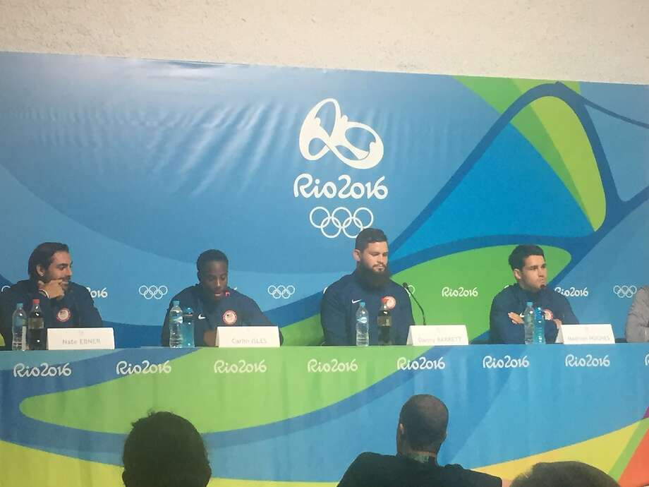 USA rugby players - Nate Exner, Carlin Isles, Danny Barrett and Madison Huges - meet the media Photo: Ann Killion