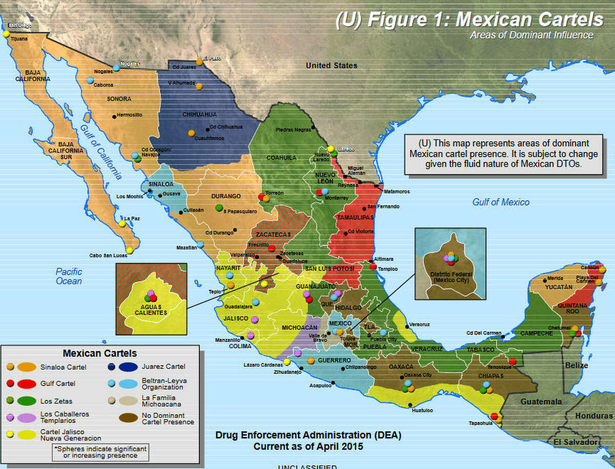 Dominant Mexican Cartel Presence by Mexican state This map from the DEA shows how large swaths of Mexico have been carved up by various cartel groups. There are a number of organizations operating in the country, but the Sinaloa, Juarez, Los Zetas and Gulf cartels are among the most powerful and control valuable real estate along America's southern border, from which they can move drugs and people into the United States. Source: DEA Intelligence Report