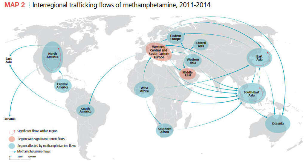 Meth Trafficking Across The Worldthis Un Map Shows How Meth Flows Across The Planet Nbsp