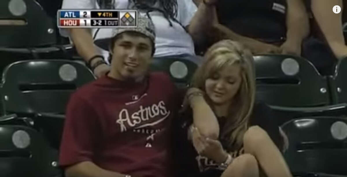 Bad boyfriend At an Astros game in 2010, a fan was caught on camera getting out of the way of a foul ball as it hit his girlfriend on the arm. The couple later took advantage of their 15 minutes of fame by appearing on Comedy Central's Tosh.0 to talk about the incident. For the record, the boyfriend claims he lost the ball in the lights.