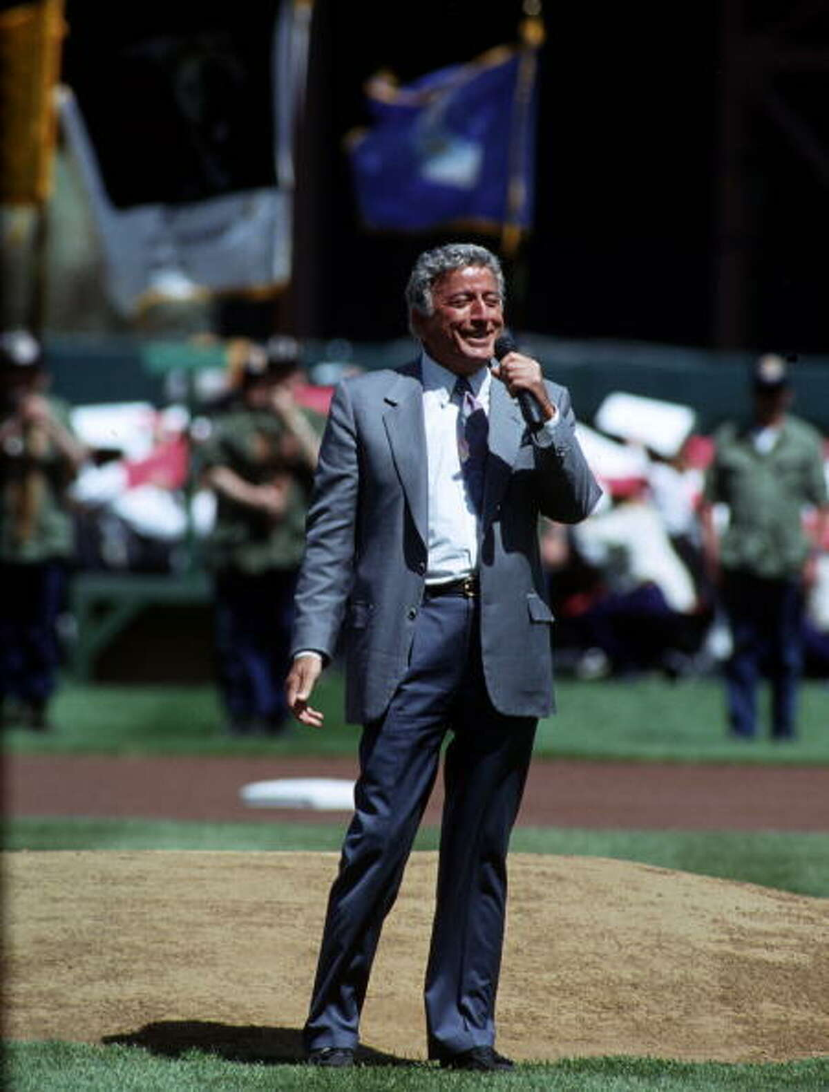1993: Singer Tony Bennett sings the National Anthem prior to a Giants game in April 1993.