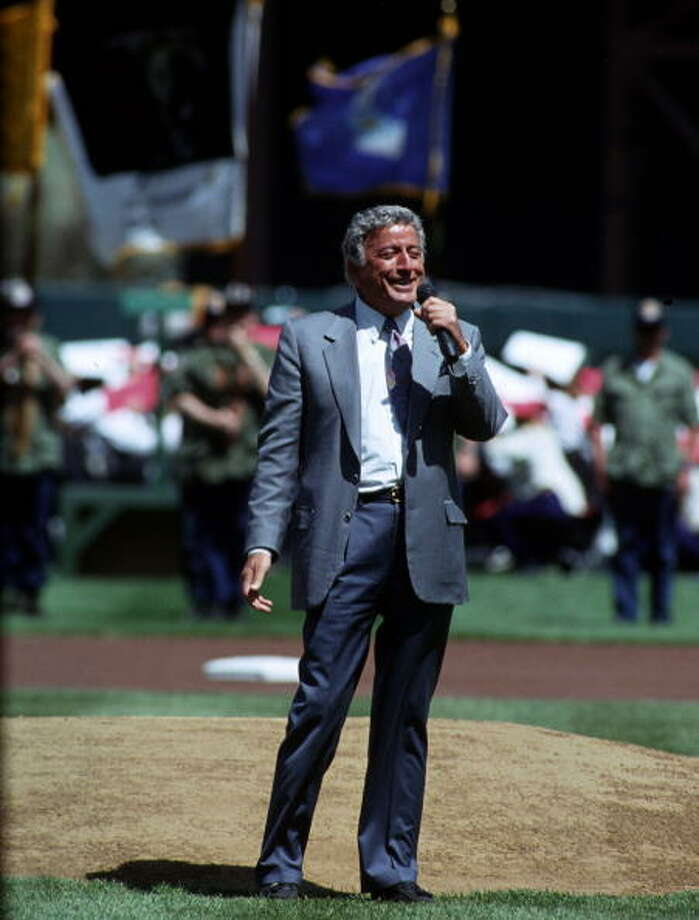 1993: Singer Tony Bennett sings the National Anthem prior to a Giants game  in April 1993. Photo: Ronald C. Modra/Sports Imagery/Getty Images, Getty Images