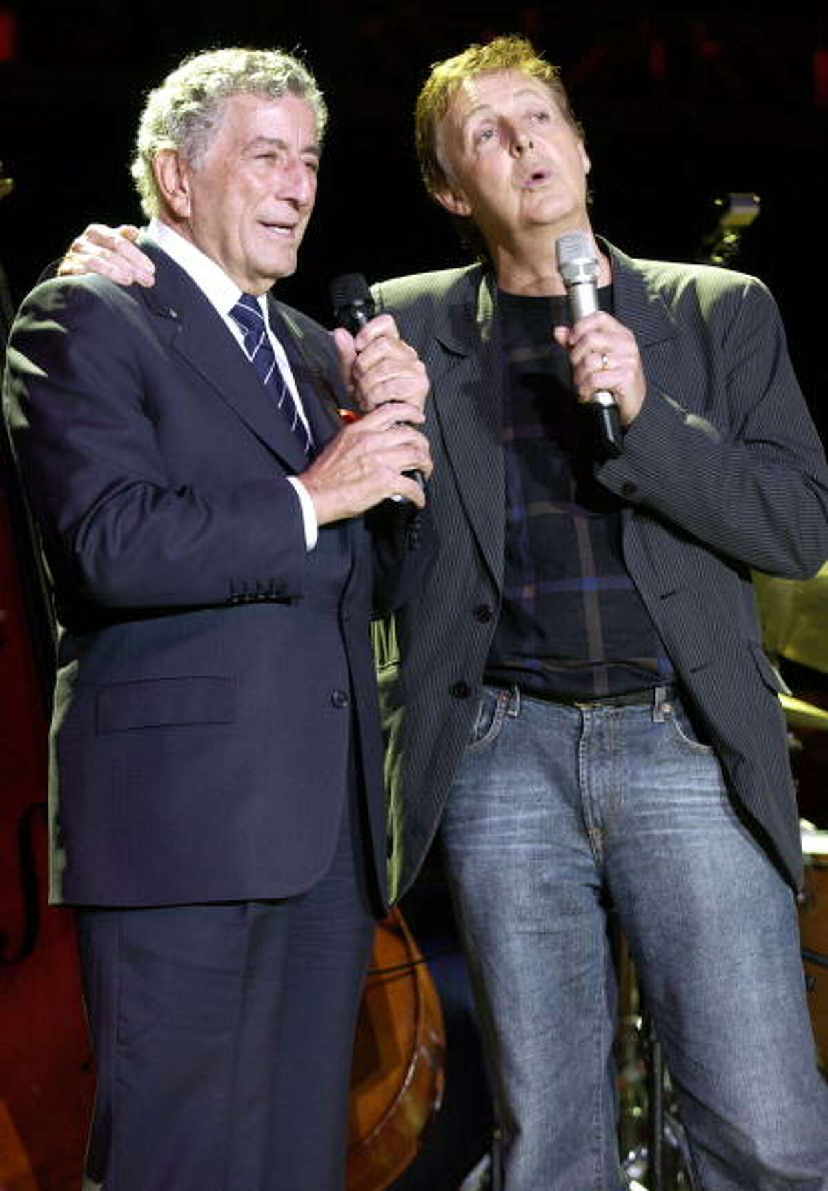 2004: Musicians Tony Bennett and Sir Paul McCartney perform at the 18th Annual Bridge School Benefit event held at the Shoreline Amphitheater on October 23, 2004.