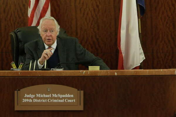 State District Judge Michael McSpadden speaks to Alexandria Vera, 24, a former Aldine ISD teacher, in court Wednesday, Aug. 3, 2016, in Houston.  She is accused of having a long-term sexual relationship with a 13-year-old boy.  The judge rejected a request from prosecutors that Vera's bail be revoked for a curfew violation. Vera is free on a $100,000 bail but has to wear a GPS ankle monitor, stay away from schools and have no contact with the teen who allegedly impregnated her.