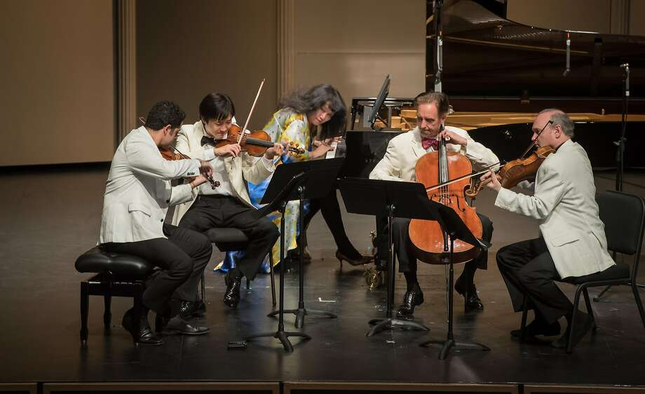 Violinists Arnaud Sussmann and Sean Lee, pianist Wu Han, cellist David Finckel and violist Paul Neubauer perform at Music@Menlo. Photo: Carlin Ma