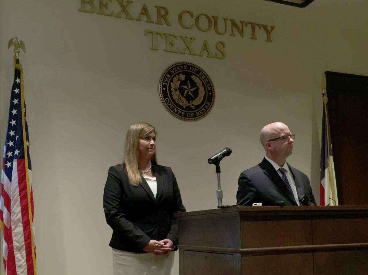 Bexar County Commissoner Kevin Wolff held a press conference at the Bexar County Courthouse Wednesday to explain his recent arrest on DWI charges. His wife Sandi Wolff, left, was in attendance as well.