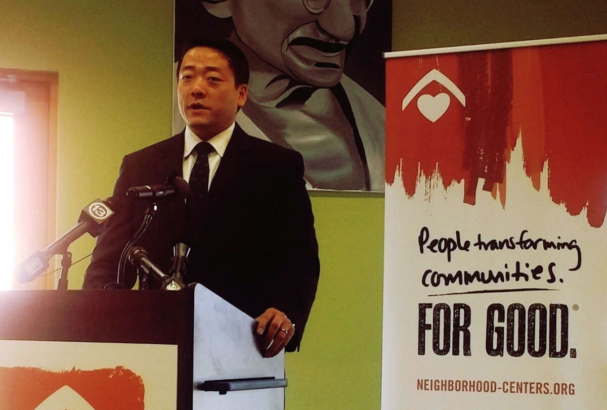 Texas state Rep. Gene Wu , speaking at an event to launch an initiative to make Houston a 'welcoming city' for immigrants, discusses growing up as an immigrant in Houston. He says his family is now