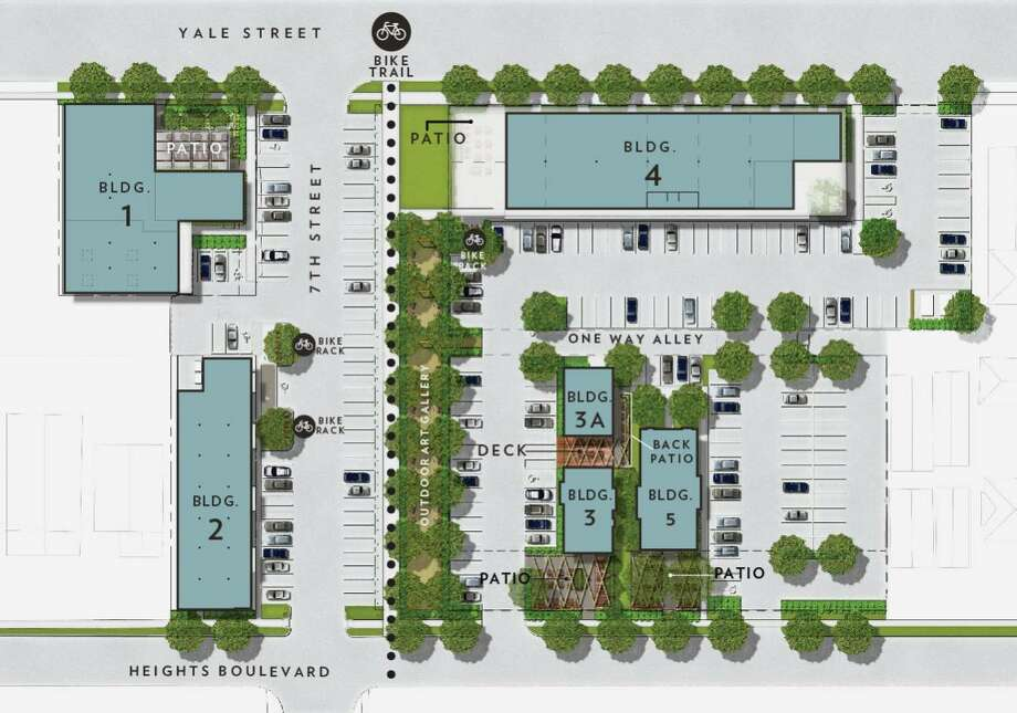 Site plan for Heights Mercantile, designed by SWA Group. Photo: Courtesy Of Radom Capital LLC