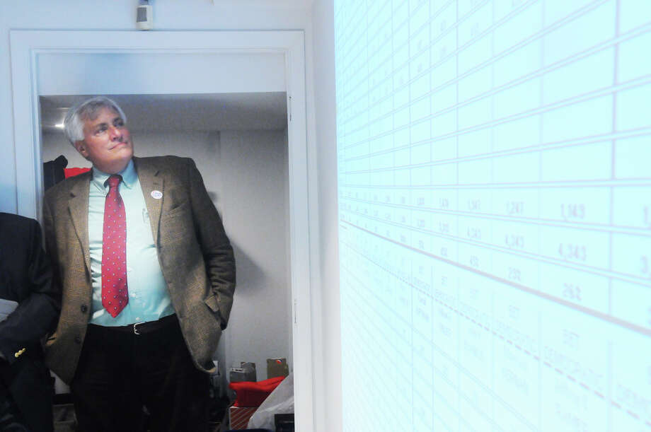 Jeff Ramer watches returns on Election Night at Democratic headquarters in 2013. Photo: Staff File Photo / Stamford Advocate Freelance