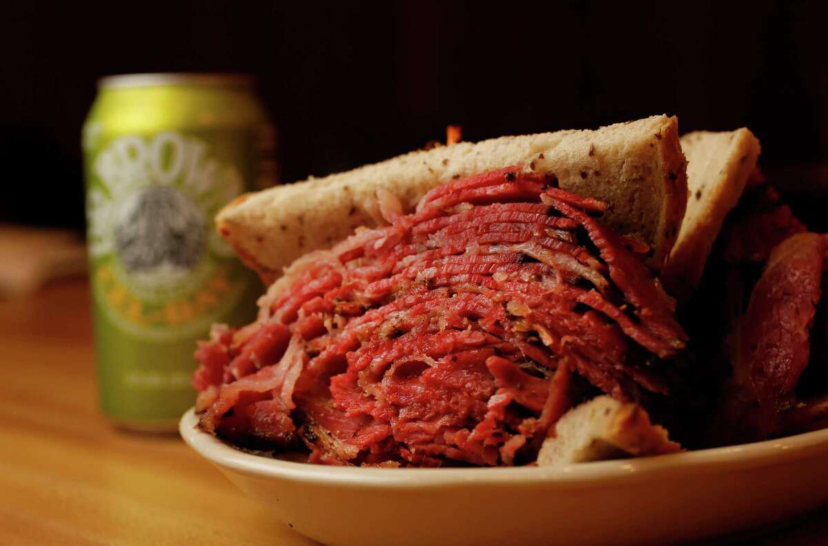 House-cured pastrami sandwich on a double-baked rye with cole slaw at Kenny & Ziggy's New York Delicatessen.