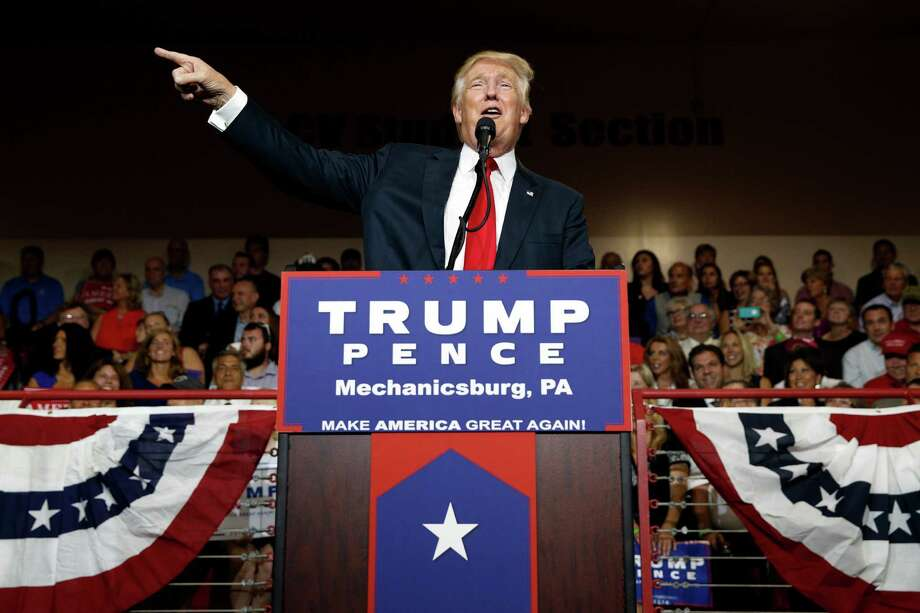 Republican presidential candidate Donald Trump speaks during a campaign rally on Monday. Trump is not merely indifferent to the language of racial and religious inclusion; he is actively hostile to the premise. Photo: Evan Vucci /Associated Press / Copyright 2016 The Associated Press. All rights reserved. This material may not be published, broadcast, rewritten or redistribu