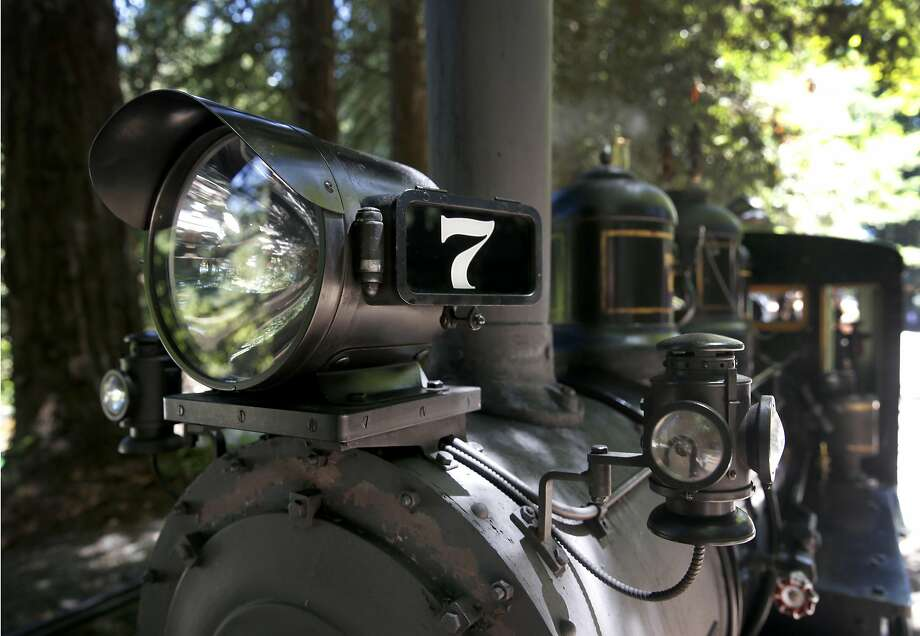 """The No. 7 """"Oak"""" steam locomotive is ready to pick up passengers for a 1.2 mile ride aboard the Redwood Valley Railway through Tilden Park near Berkely. Photo: Paul Chinn, The Chronicle"""