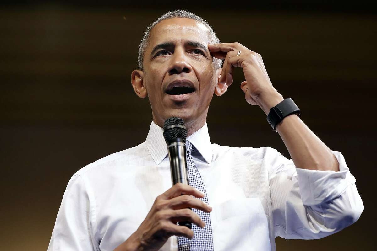 President Barack Obama gestures while saying it's important to think about the why when choosing a goal or profession, as he speaks to Young African Leaders Initiative event at the Omni Shoreham Hotel, Wednesday, Aug. 3, 2016, in Washington. (AP Photo/Jacquelyn Martin)