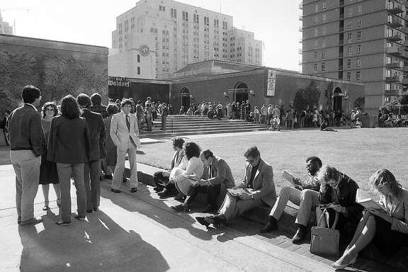People wait in line sometimes for hours to get into Paul Prudhomme's K-Paul Louisiana Kitchen restaurant at the Old Waldorf in San Francisco Photos taken August 12, 1983