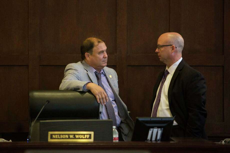 "Bexar County Precinct 1 Commissioner Sergio ""Chico"" Rodriguez speaks to Precint 3 Commissioner Kevin Wolff. Both commissioners have earned another term. Photo: Carolyn Van Houten /Carolyn Van Houten / 2016 San Antonio Express-News"
