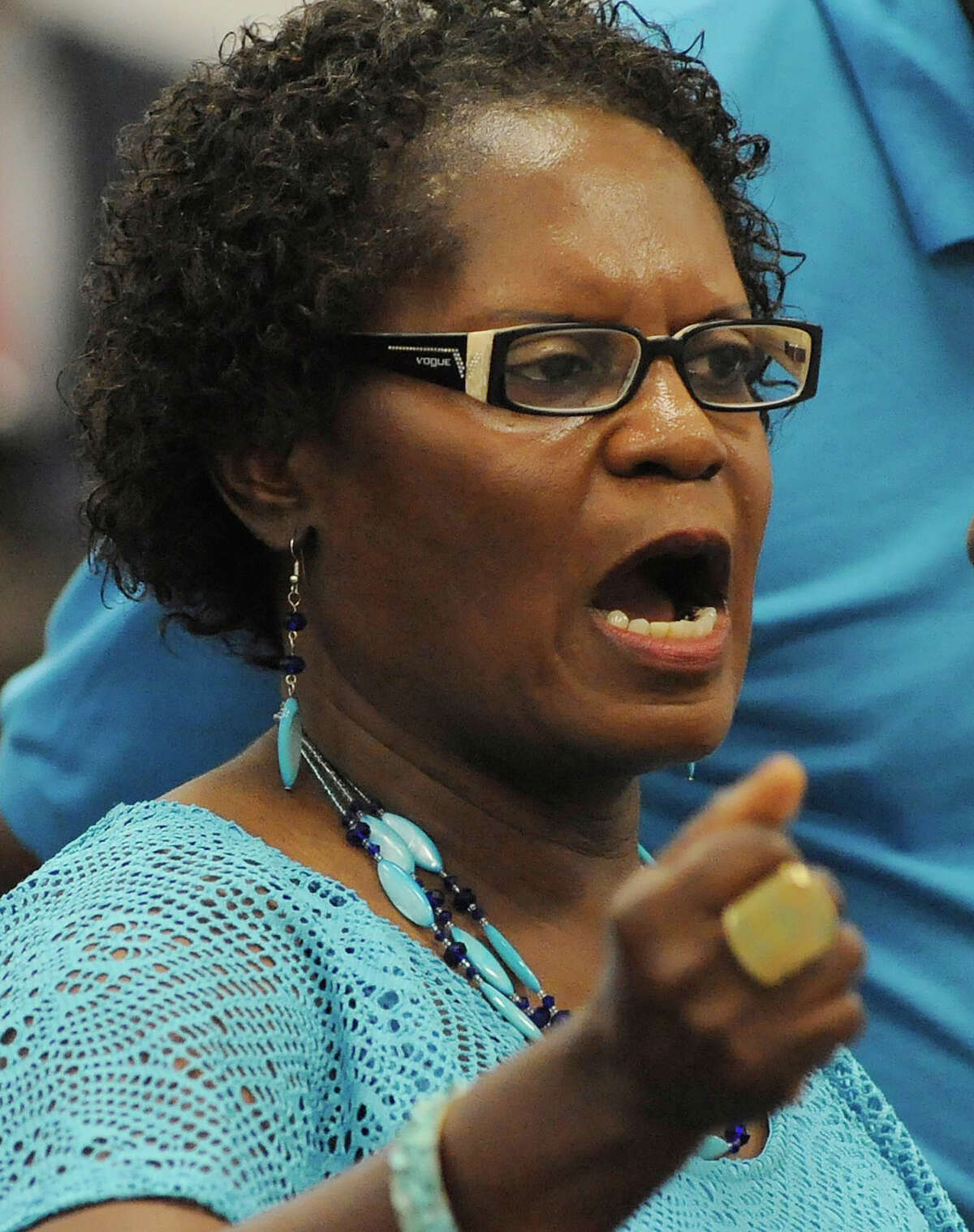 Church bombing survivor Sarah Collins Rudolph speaks to Alabama's parole board in opposition of an early release for convicted bomber Thomas Blanton Jr. on Wednesday, Aug. 3, 2016. Rudolph, who was badly injured in the bombing, which killed her sister Addie Mae Collins, urged the board to keep Blanton behind bars. (AP Photo/Jay Reeves)