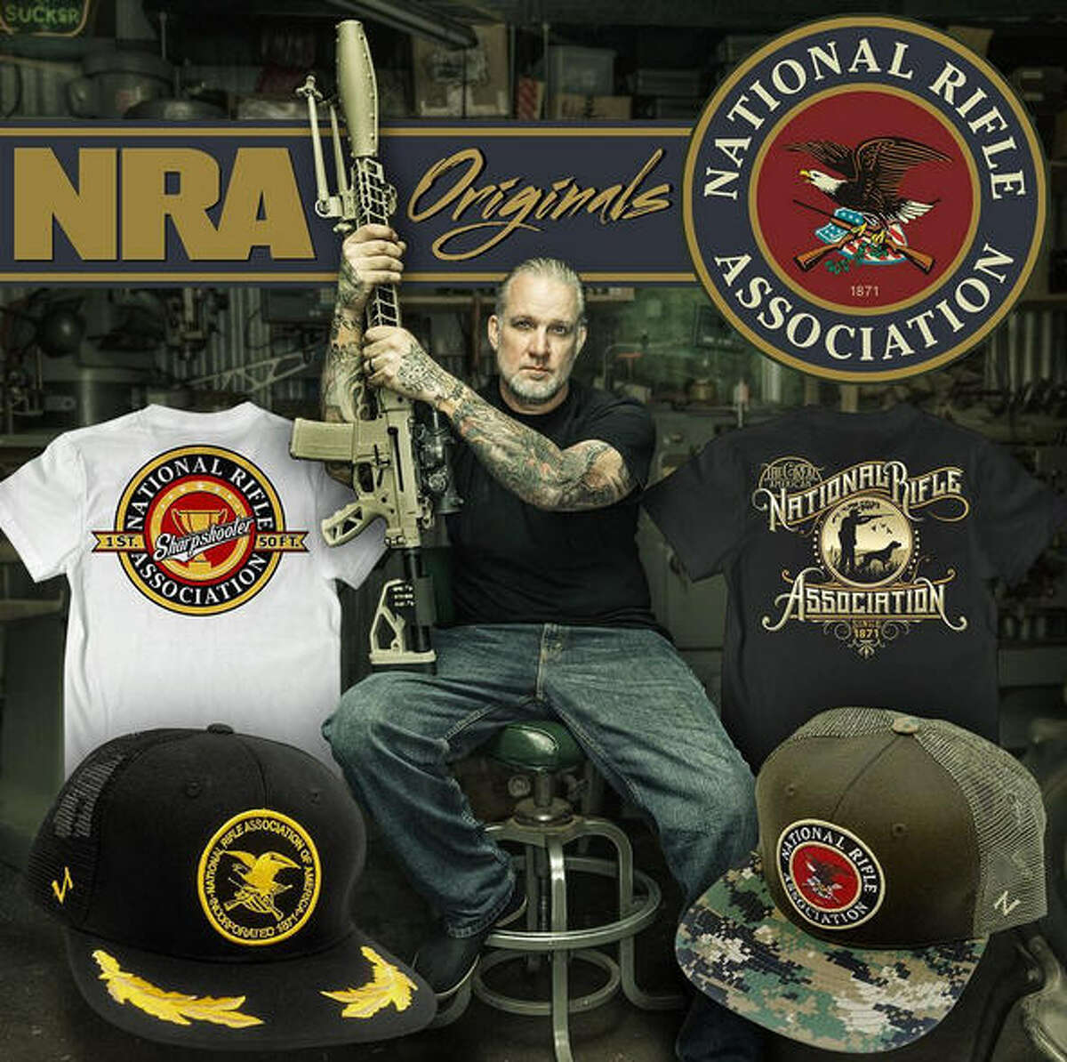 Jesse James, the famous heavily-tattooed motorcycle builder, moved to Texas not too long ago and got into the business of building custom pistols and rifles. He's now designing apparel for the NRA, according to an announcement Aug. 1, 2016.