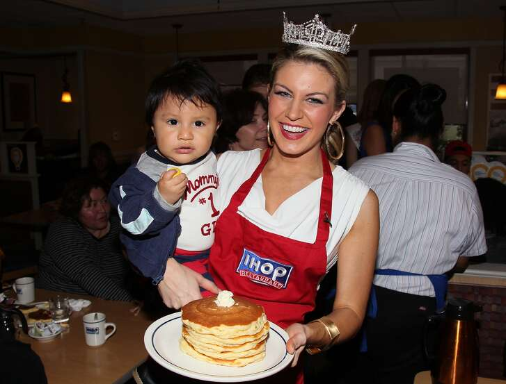 Miss America 2013 Mallory Hagan celebrates National Pancake Day at IHOP on February 5, 2013 in Hollywood, California.