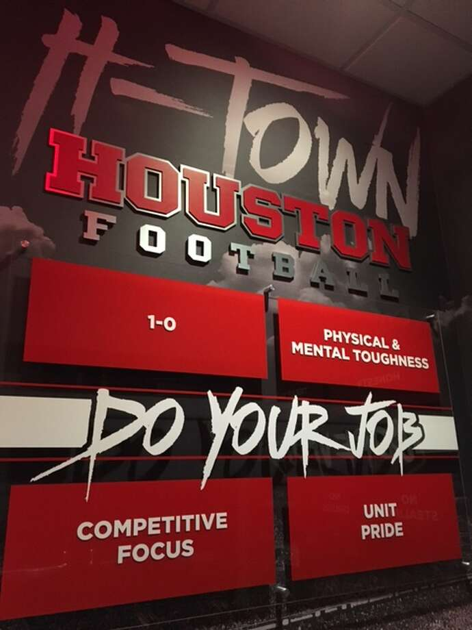 A look inside the University of Houston's $1 million football locker room makeover. (Joseph Duarte / Houston Chronicle) Photo: Joseph Duarte / Houston Chronicle