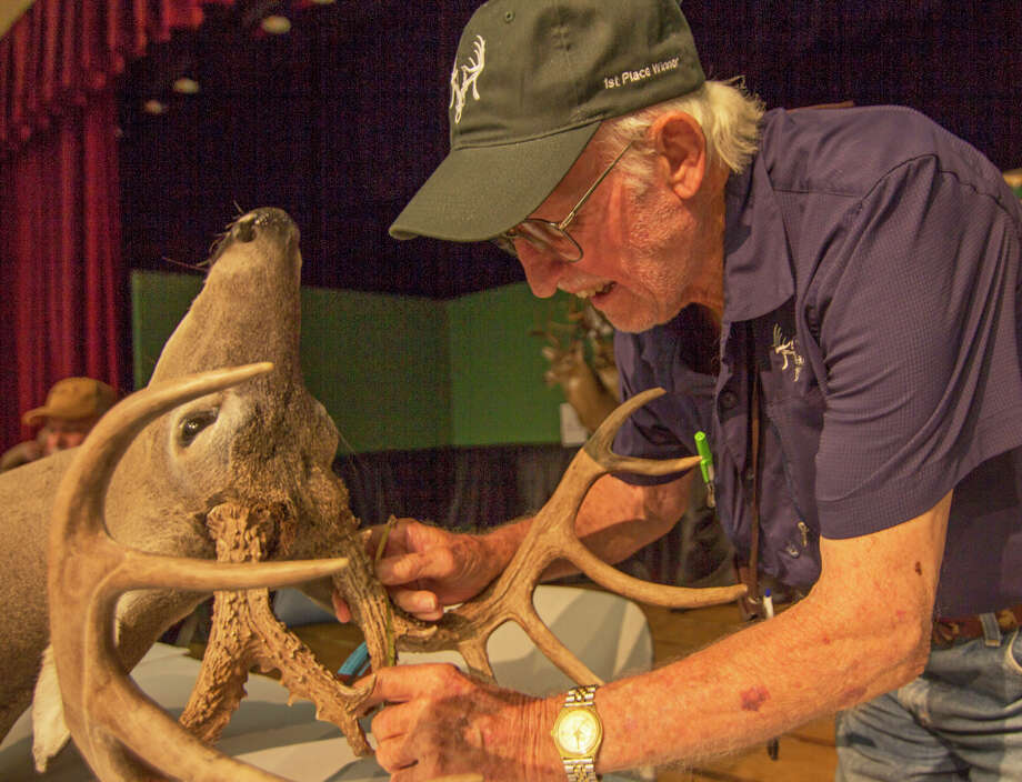 Horace Gore, editor of The Journal of the Texas Trophy Hunters, scores a buck's antlers in the TTDA deer contest at the Hunters Extravaganza, which is celebrating its 40th anniversary. Photo: John Goodspeed / For The Express-News