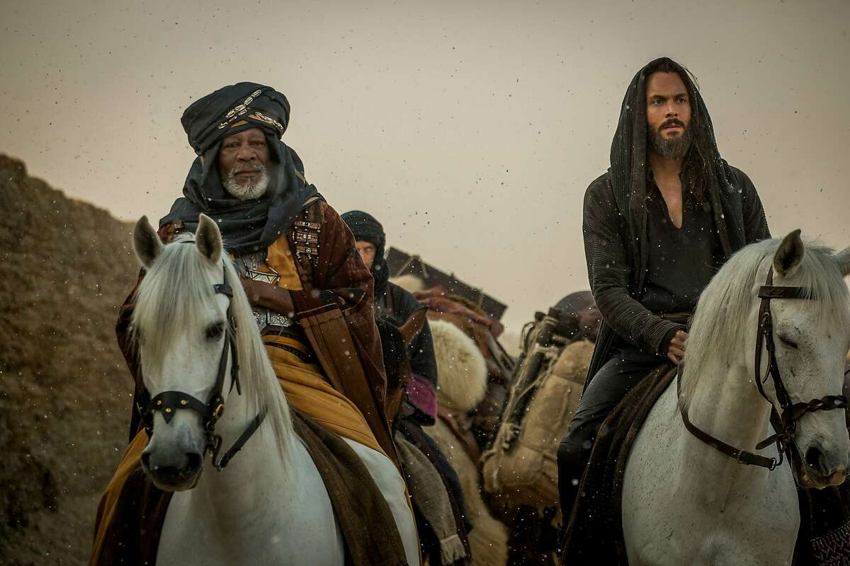 """Morgan Freeman as Ilderim and Jack Huston as Judah Ben-Hur in """"Ben-Hur,"""" opening at Bay Area theaters on Friday, August 19. Photo by Philippe Antonello, courtesy of Paramount Pictures and Metro-Goldwyn-Mayer Pictures."""