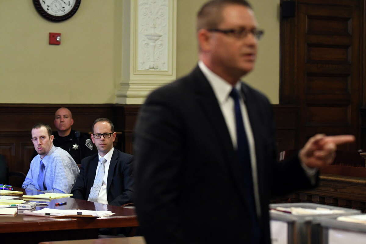 Jacob Heimroth, left, with attorneys Trevor Hannigan and Joe Ahearn, right, during opening statements in his trial for murder at Rensselaer County Court on Tuesday Aug. 2, 2016 in Troy, N.Y. (Michael P. Farrell/Times Union)