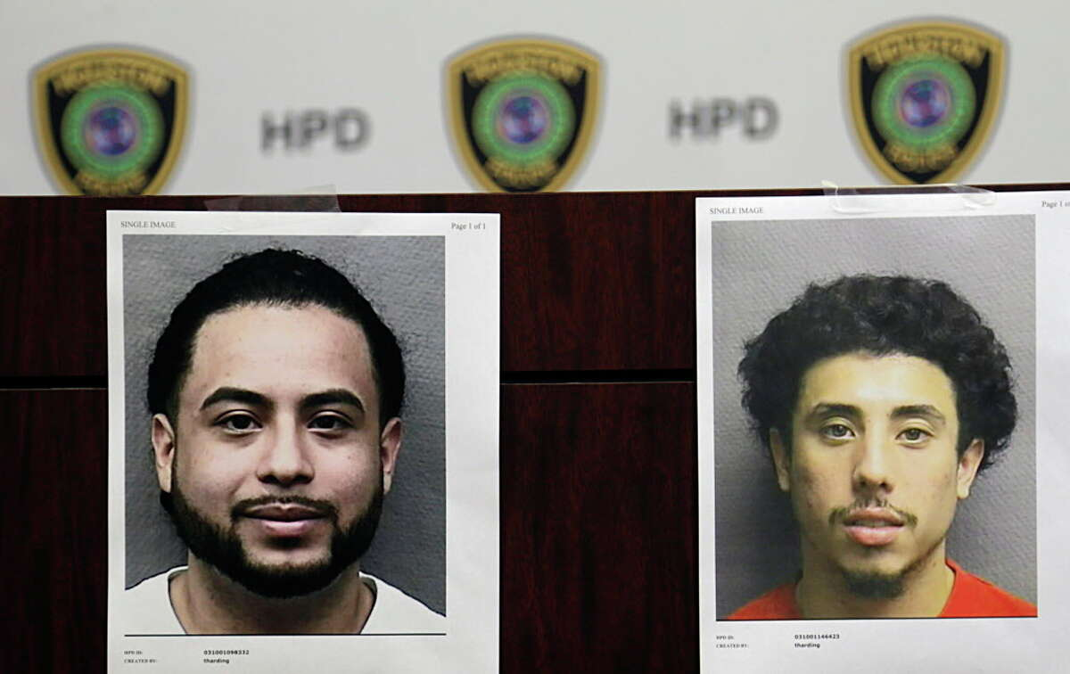 Booking photographs of Michael Armando Arce left, and Jesse Irvin Zelaya who are both charged with unauthorized use of a motor vehicle Aug. 4, 2016, in Houston. The two suspects arrested and are believed responsible for the theft and illegal export of more than 100 vehicles, specifically trucks and sport utility vehicles. Houston Police Department Photo
