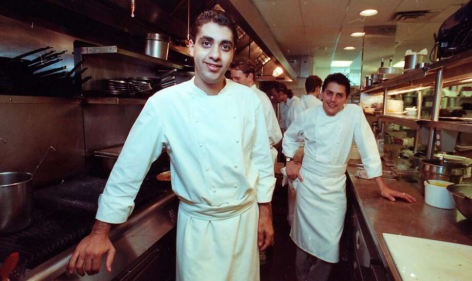 1992: Michael Mina (left), who was then a sous chef, and George Morrone at Aqua. Photo: Mike Maloney, The Chronicle