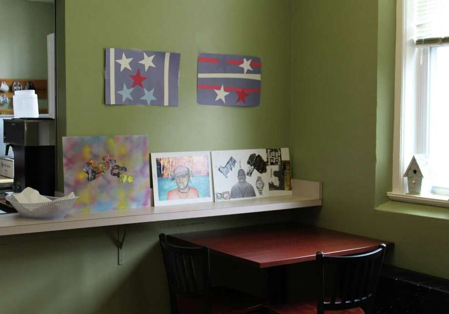 Artwork created by men staying at Homes for the Brave in Bridgeport, Conn. is displayed around the transitional facility for homeless veterans. Most of the pieces, photographed Aug. 2, 2016, were created during art therapy classes run by the Westport Arts Center's WAC Gives Back program. Photo: Laura Weiss / Hearst Connecticut Media / Westport News