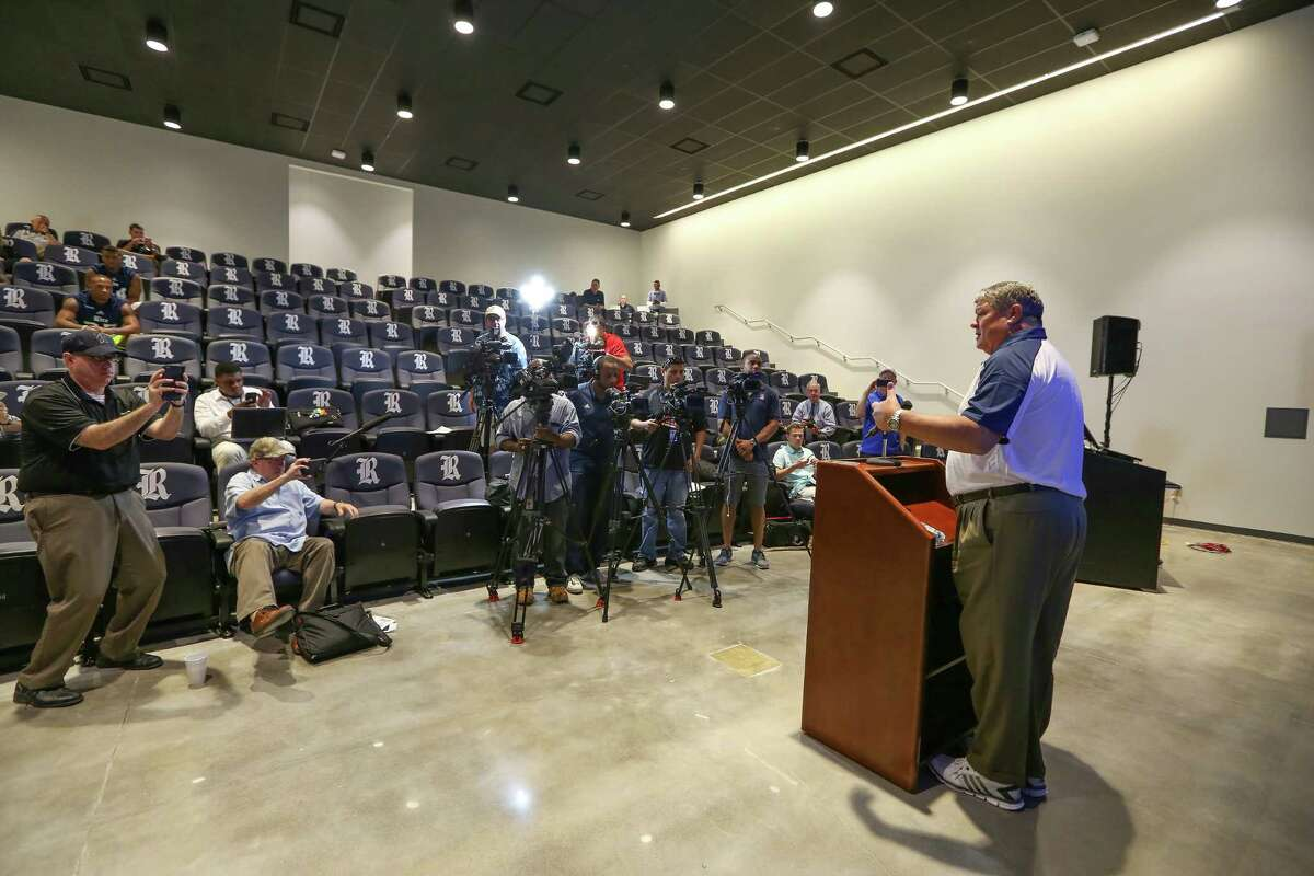 Rice University Football Team held their Media Day in their new facility Thursday, Aug. 4, 2016, in Houston. Head Football Coach Davis Bailiff addressed the media in the new auditorium.