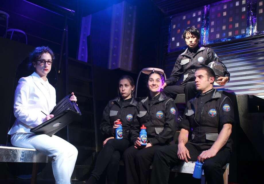 May (Becky Hirschfeld, left),Jones (Adrian Deane),Amy(Nora Doane),Ripp(Daniel Chung) andTugg(Paul Rodrigues) are the Crew of the Cosmos. Photo: Maxx Kurzunski, FaultLine Theater
