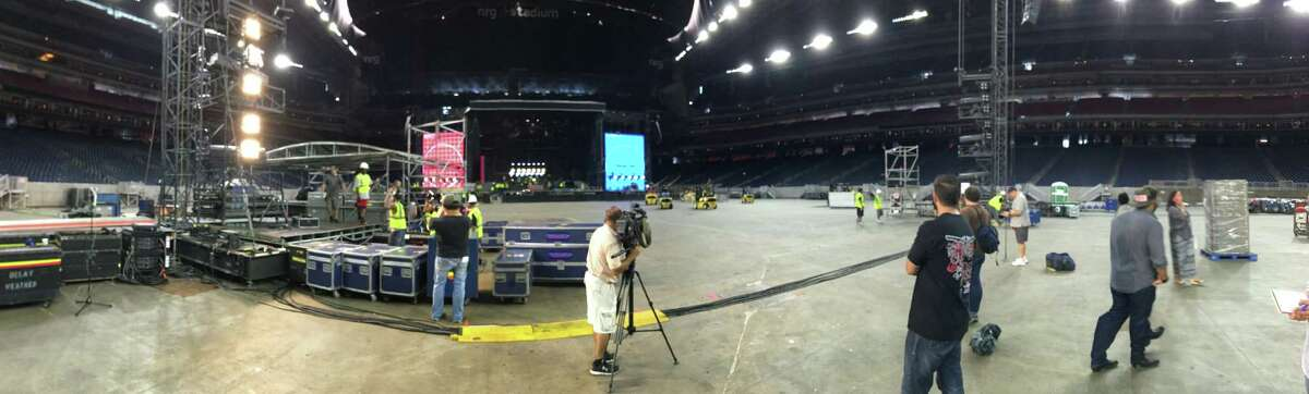 Crew was setting up Thursday for the Guns n Roses show at NRG Stadium. More than 200 people, including 125 locals, are part of the push.