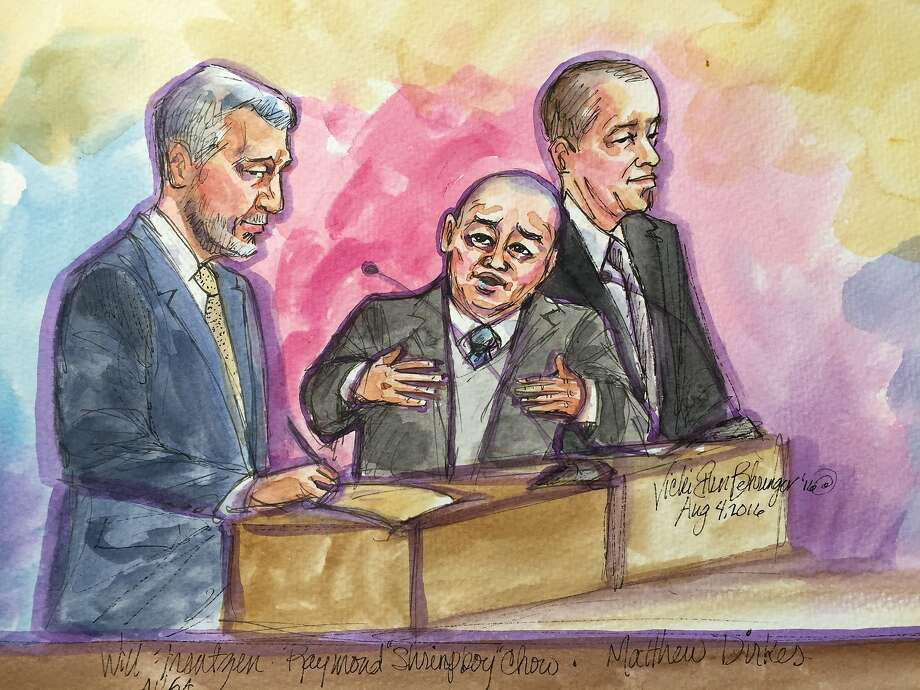 """U.S. Attorney William Frentzen, left, Raymond """"Shrimp Boy"""" Chow, and attorney Matthew Dierkes are seen in Federal Court on Thursday, Aug. 4, 2016 in San Francisco, Calif., during Chow's sentencing hearing. Five of Chow's associates pleaded guilty to crimes committed under the same syndicate Wednesday. Photo: Vicki Behringer, Special To The Chronicle"""