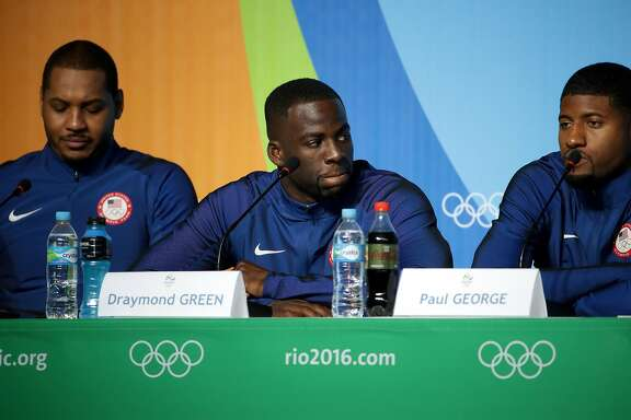 RIO DE JANEIRO, BRAZIL - AUGUST 04:  Draymond Green of the United States speaks with the media during a press conference at the Main Press Centre ahead of the Rio 2016 Olympic Games on August 4, 2016 in Rio de Janeiro, Brazil.  (Photo by Chris Graythen/Getty Images)