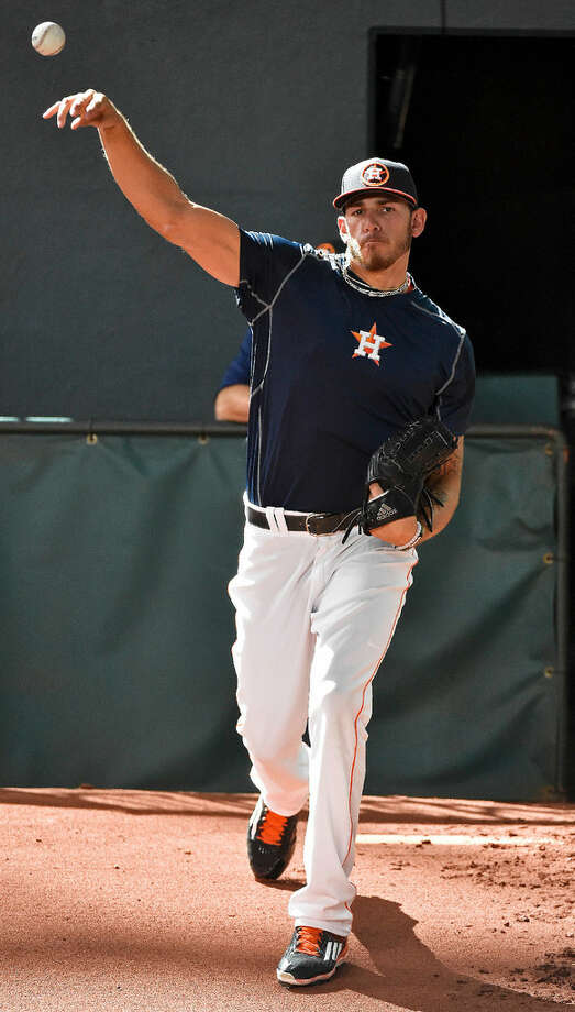 Houston Astros pitcher Joe Musgrove warms up in the bullpen before a game on Aug. 1 against the Toronto Blue Jays in Houston. Photo: Eric Christian Smith /AP Photo