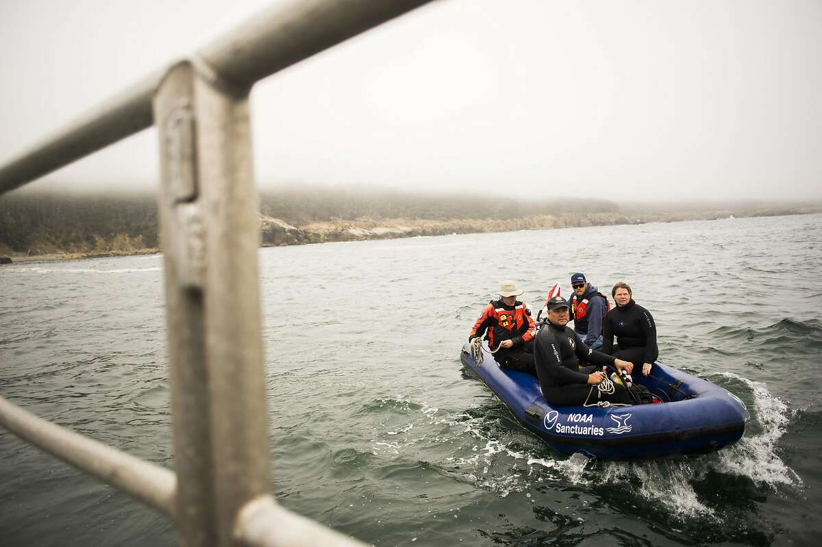 The diving team returns from their dive off of Fisk Mill Cove. A National Oceanic and Atmospheric Association (NOAA) and California State Parks team has an expedition aboard the