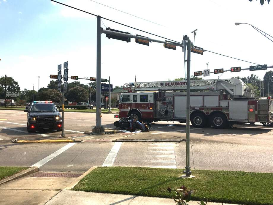 A motorcyclist was injured in a crash at Major Drive and Phelan Boulevard on Thursday afternoon. Photo: Sara Flores/The Enterprise