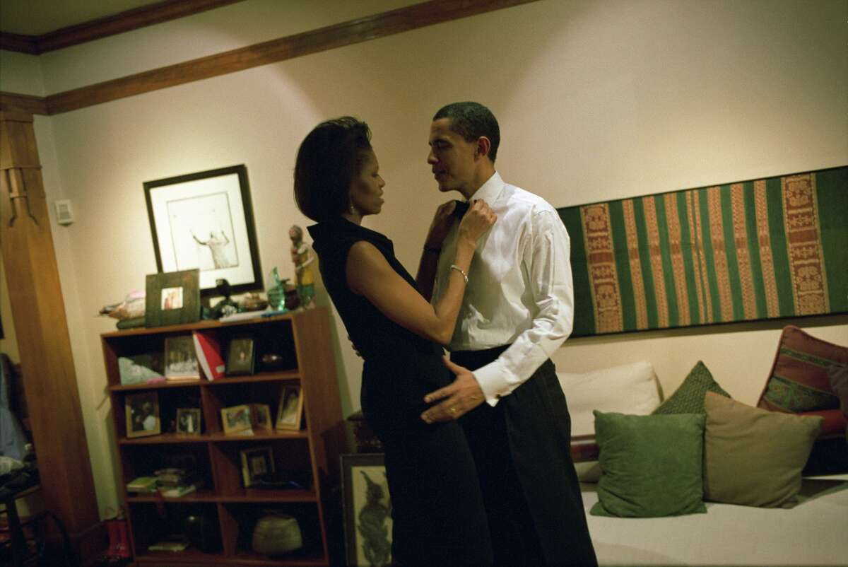 At their Chicago home in 2004, then-Sen. Obama and his wife, Michelle, get ready for an event at the Chicago Economic Club.