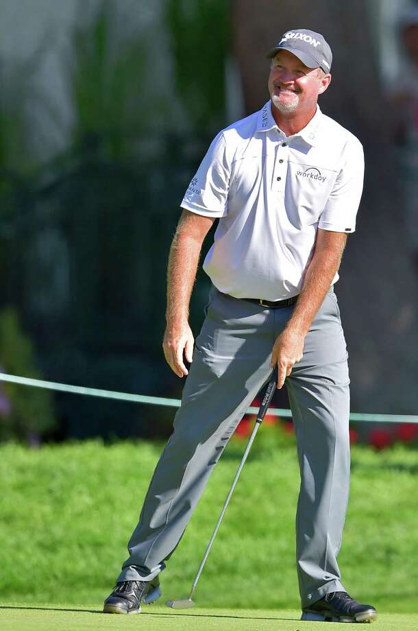 CROMWELL, CT - AUGUST 04: Jerry Kelly of the United States reacts after his birdie shot on the ninth hole during the first round of the travelers Championship at TPC River Highlands on August 4, 2016 in Cromwell, Connecticut.  (Photo by Steven Ryan/Getty Images) Photo: Steven Ryan / Getty Images / 2016 Getty Images