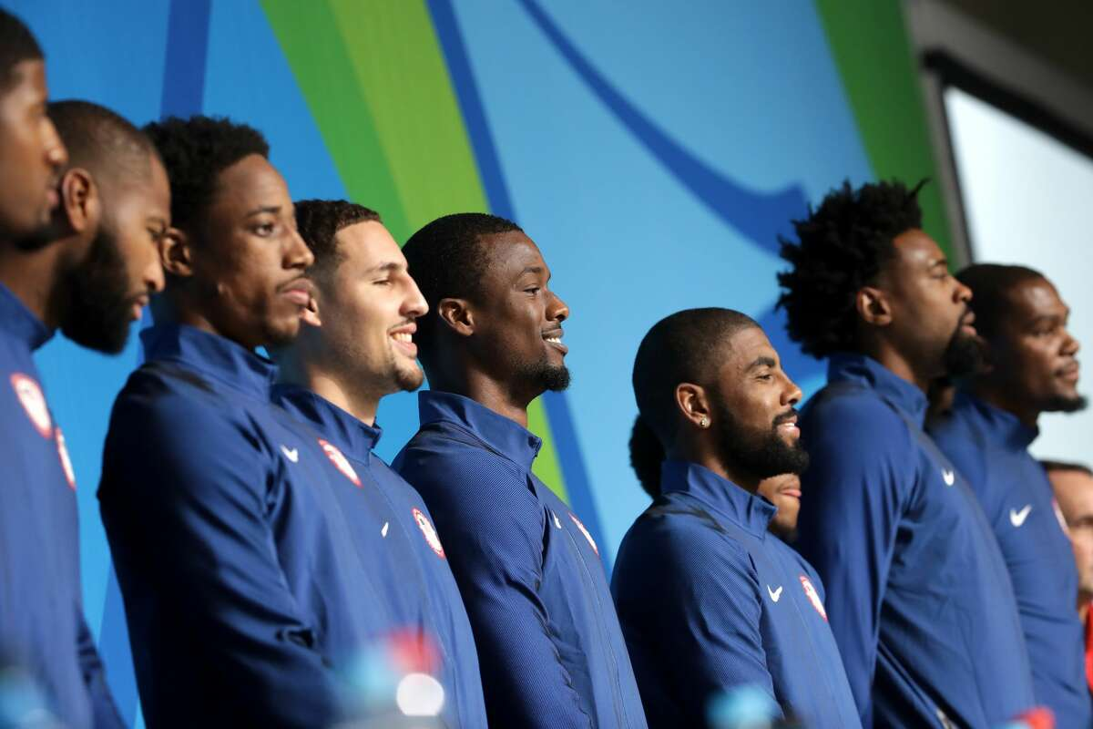 Most searched Olympic sport in America: Basketball Klay Thompson and Kevin Durant are some of the players representing the U.S. on the men's basketball team.
