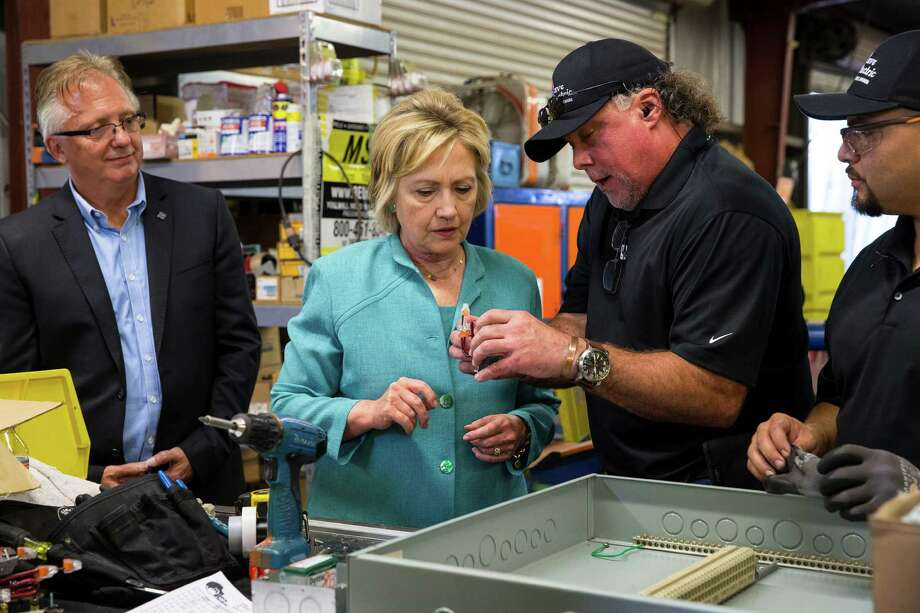 On the campaign trail, Democratic presidential nominee Hillary Clinton toured Mojave Electric in Las Vegas on Thursday. Photo: RUTH FREMSON, STF / NYTNS