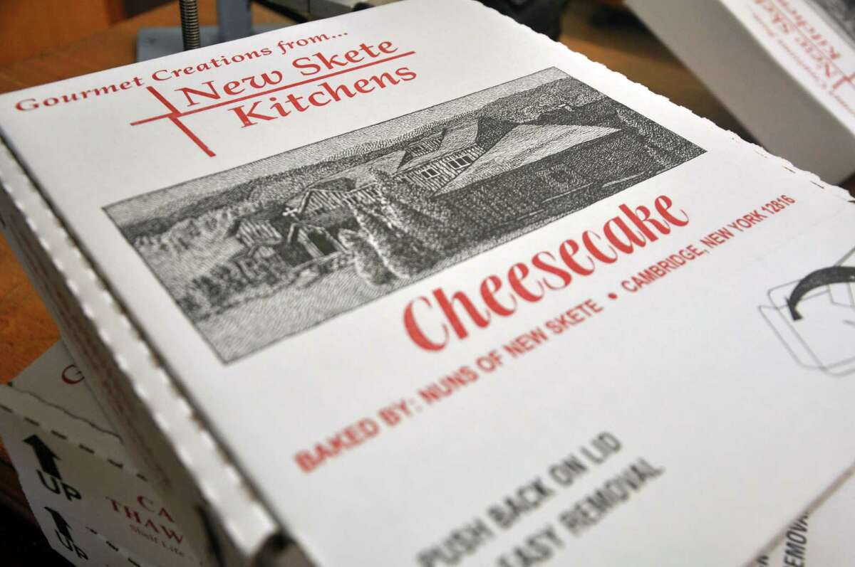 Boxes for the popular cheesecake made by the Nuns at New Skete Monastery on Wednesday, Aug. 3, 2016 in Cambridge, N.Y. The monastery will soon be celebrating its 50th anniversary. (Eliza Mineaux/Special to the Times Union)