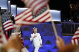 Hillary Clinton takes the stage to accept the party�s presidential nomination, at the Democratic National Convention in Philadelphia, July 28, 2016. (Eric Thayer/The New York Times)
