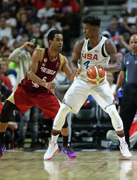 Jimmy Butler only went 2-for-4 against Venezuela, but he had his best pre-Olympic performance against Nigeria, shooting 4-for-9 and getting four steals. Photo: Jonathan Daniel, Staff / 2016 Getty Images