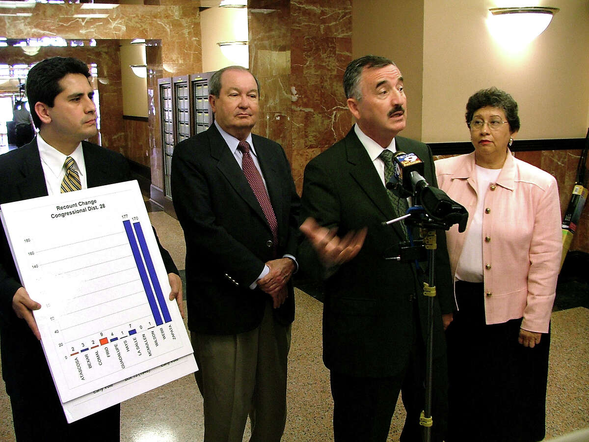 U.S. Rep. Ciro Rodriguez, third from left, talks to the media after filing a lawsuit in district court in Laredo, Texas, Wednesday, April 14, 2004. Joining Rodriguez are, from left, Manuel Medina, Attorney Buck Wood and Carolina Rodriguez. Rodriguezfiled his much-anticipated lawsuit challenging the Democratic primary recount in District 28, saying there is no reasonable way to explain how more than 400 new votes appeared in two South Texas counties. (AP Photo/Laredo Morning Times/Ricardo Santos)