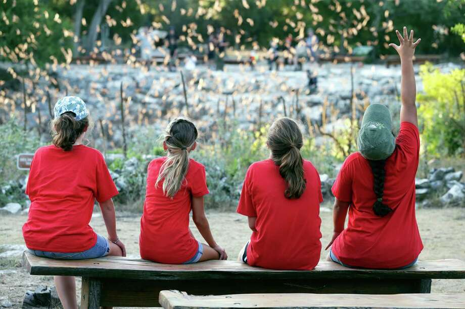 Girl scouts witness the flight of bats from the bat cave near Natural Bridge Caverns as they participate in a Bat Conservation International event on August 4, 2016 Photo: TOM REEL, STAFF / SAN ANTONIO EXPRESS-NEWS / 2016 SAN ANTONIO EXPRESS-NEWS