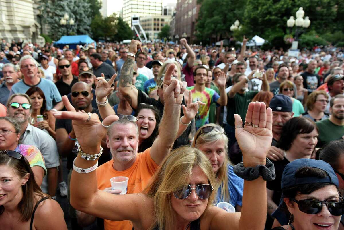 Music fans get down to the music of Molly Hatchet during Alive at Five on Thursday, Aug. 4, 2016, in Albany, N.Y. (Cindy Schultz / Times Union)
