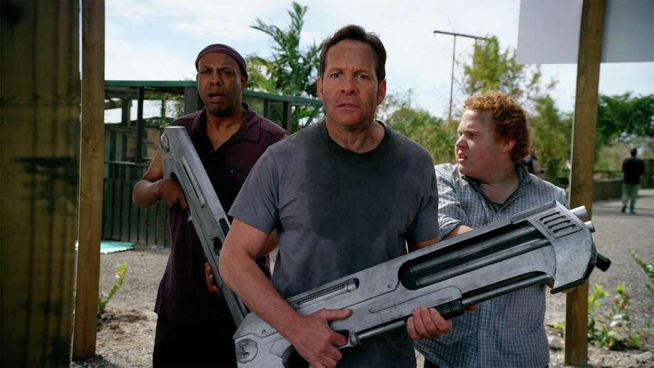 "Michael Winslow, from left, Steve Guttenberg and Jimmy Bellinger star in ""2 Lava 2 Lantula."" Photo: Syfy"