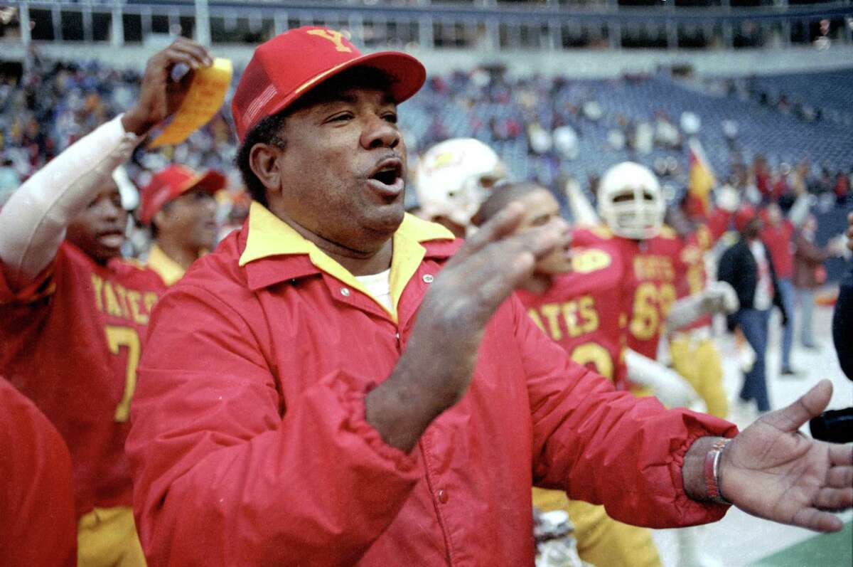 12/21/1985 - High school championship game: Yates v Odessa Permian at Texas Stadium. Yates football coach Luther Booker won a UIL football title in 1985. Â Houston Chronicle